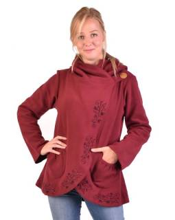 Vínový kabát s kapucňou zapínaný na gombík, kvetinová výšivka