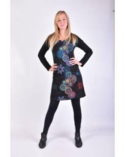 Krátke šaty s dlhým rukávom, čierne, potlač kvetín