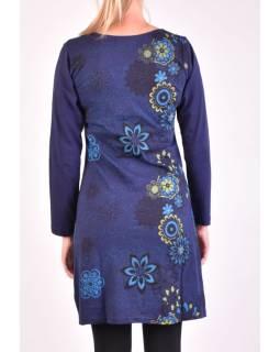 Krátke šaty s dlhým rukávom, tmavo modrá, potlač kvetín