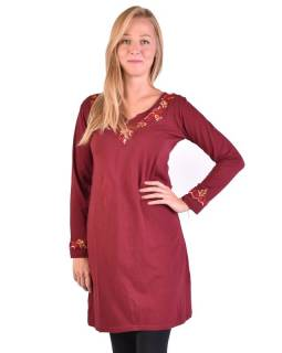 Krátke šaty s dlhým rukávom, vínovej, výšivka
