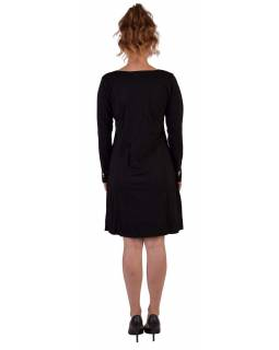 Krátke šaty s dlhým rukávom, čierne, výšivka