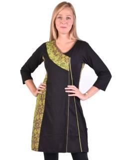 Krátke šaty s 3/4 rukávom, čierno-zelené, potlač kvetín