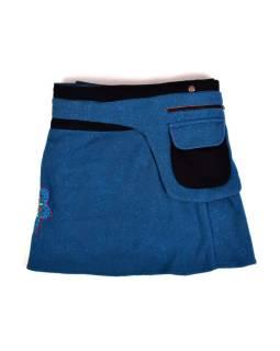 Krátka fleecová sukňa zapínaná na patentky, Mandala dizajn, modrá, kapsička