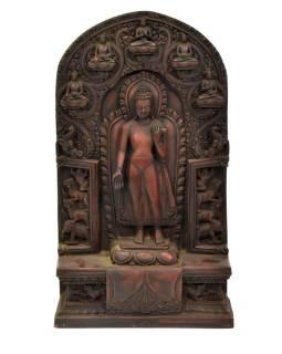 Budha Maitréja, živice, ručne vyrezávaný, 21x8x37cm