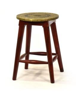 Stolička z palisandu zdobená mosadzou, 30x30x45cm