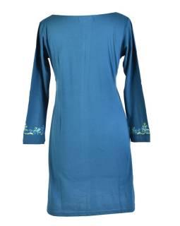 Krátke šaty s dlhým rukávom, modré, výšivka