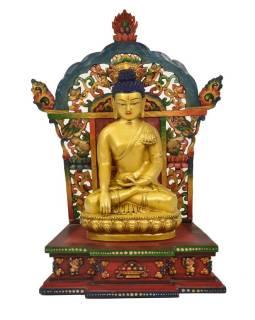 Drevený trón s keramickou sochou Budhu Šákjamuniho, 32x22x50cm