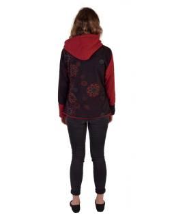 Krátky fleecový kabátik s kapucňou, vínový, zapínanie na zips, potlač a výšivka mand