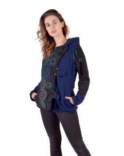 Krátky fleecový kabátik s kapucňou, modrá, zapínanie na zips, potlač a výšivka mand