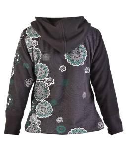 Krátky fleecový kabátik s kapucňou, čierny, zapínanie na zips, potlač a výšivka mand