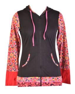 Čierno ružová mikina s kapucňou, potlač bubliniek, zapínanie na zips, vrecká
