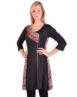 Krátke šaty s 3/4 rukávom, čierno-vínovej, potlač kvetín