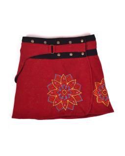 Krátka fleecová sukňa zapínaná na patentky, Mandala dizajn, vínová, kapsička