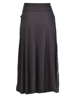 Dlhá čierna sukňa s potlačou a výšivkou, elastický pás
