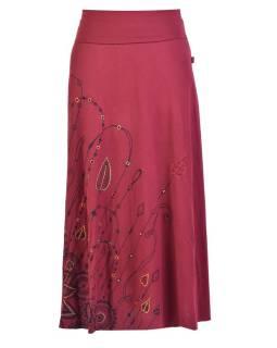 Dlhá vínová sukňa s potlačou a výšivkou, elastický pás