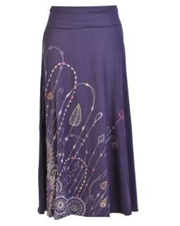 Dlhá tmavo modrá sukňa s potlačou a výšivkou, elastický pás