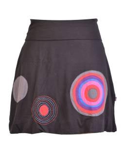 Krátka balónová sukňa, čierna kruhové aplikácie, elastický pás