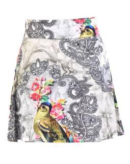 Krátka sukňa, elastický pás, potlač papagájov a kvetín