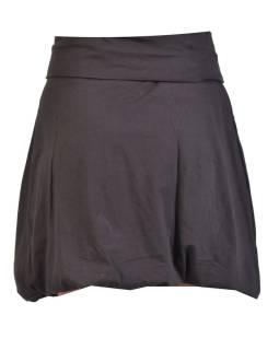 Krátka balónová sukňa, čierna s potlačou a výšivkou, elastický pás