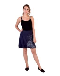 Krátka balónová sukňa, tmavo modrá s potlačou a výšivkou, elastický pás