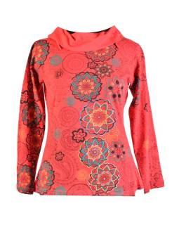 Červené tričko s dlhým rukávom a golierom, mandala dizajn