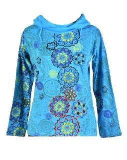Tyrkysové tričko s dlhým rukávom a golierom, mandala dizajn