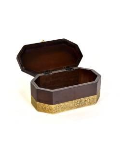 Drevená ozdobná krabička (šperkovnice), mosadzné kovania, 21x12x10cm