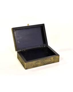 Drevená ozdobná krabička (šperkovnice), mosadzné kovania, 20x14x7cm