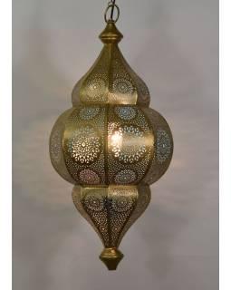 Lampa v orientálnom štýle s jemným vzorom, zlatá, vnútri modrá, 25x25x50cm
