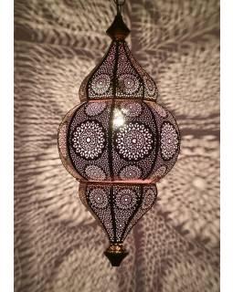 Lampa v orientálnom štýle s jemným vzorom, zlatá, vnútri fialová, 25x25x50cm
