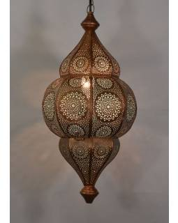 Lampa v orientálnom štýle s jemným vzorom, medená, vnútri modrá, 25x25x50cm
