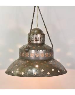 Kovová lampa v orientálnom štýle, hrdza, 48x48x38cm