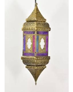 Arabská lampa, multifarebná, mosadz, ručné práce, 13x13x50cm