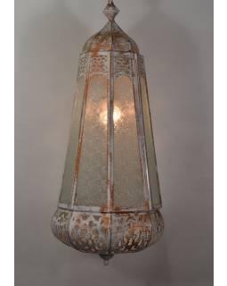Arabská lampa, biela patina, ručné práce, 33x33x78cm