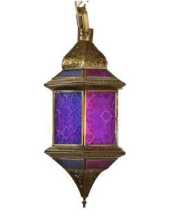 Arabská lampa, multifarebná, mosadz, ručné práce, 19x19x37cm