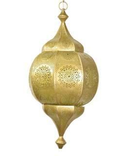 Orientálna lampa s jemným vzorom, zlatá, vnútri žltá, 30x30x63cm