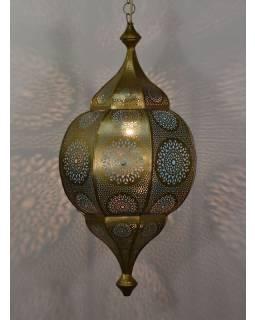Orientálna lampa s jemným vzorom, zlatá, vnútri modrá, 30x30x63cm