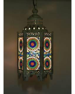 Kovová lucerna, biela patina, farebná mozaika, 26x26x60cm