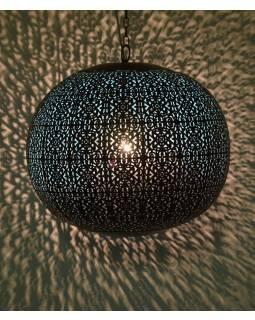 Kovová lampa v arabskom štýle, medená, vnútri tyrkysová, 40x40x40cm