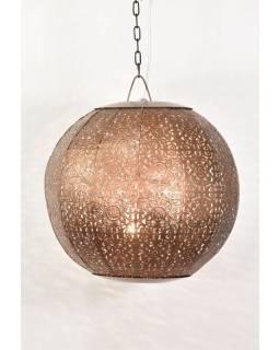 Kovová lampa v arabskom štýle, medená, vnútri tyrkysová, 35x35x35cm