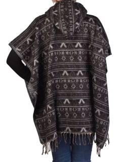 Farebné pončo s kapucňou a strapcami, vzor mini aztec, čierna