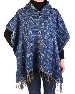 Farebné pončo s kapucňou a strapcami, vzor mini aztec, modrá