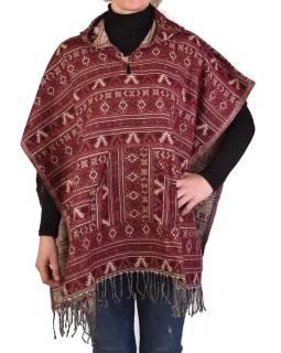 Farebné pončo s kapucňou a strapcami, vzor mini aztec, vínová