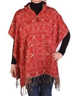 Farebné pončo s kapucňou a strapcami, vzor mini aztec, červená