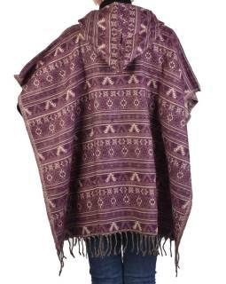 Farebné pončo s kapucňou a strapcami, vzor mini aztec, fialová