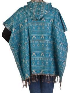 Farebné pončo s kapucňou a strapcami, vzor mini aztec, tyrkysová