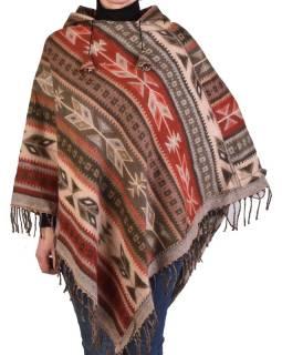 Farebné pončo s kapucňou a strapcami, vzor aztec, béžovo-červené