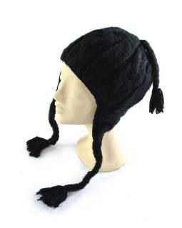 Čiapka s ušami, dámska, čierna, prepletaný dizajn, podšívka