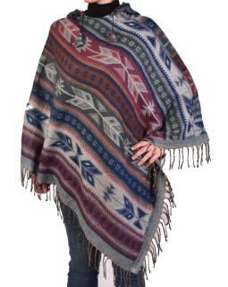 Farebné pončo s kapucňou a strapcami, vzor aztec, šedo-ružové