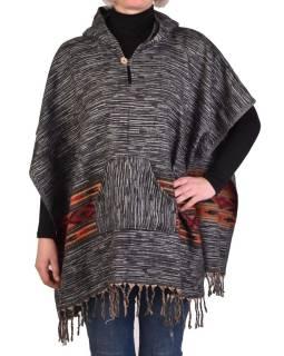 Farebné pončo s kapucňou a strapcami, vzor aztec, čierne